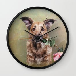 Drawing funny dog holding a flower in the mouth Wall Clock