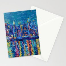New York - The City That Never Sleeps; Palette Knife City Skyline by Adriana Dziuba Stationery Cards
