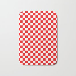 Small Checkered - White and Red Bath Mat