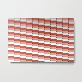 Staggered Oblong Rounded Lines Pantone Living Coral Illustration Metal Print