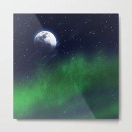 The moon and the aurora borealis Metal Print