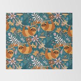 Happy Boho Sloth Floral Throw Blanket