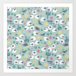 Ditsy Daisy Sheep Art Print
