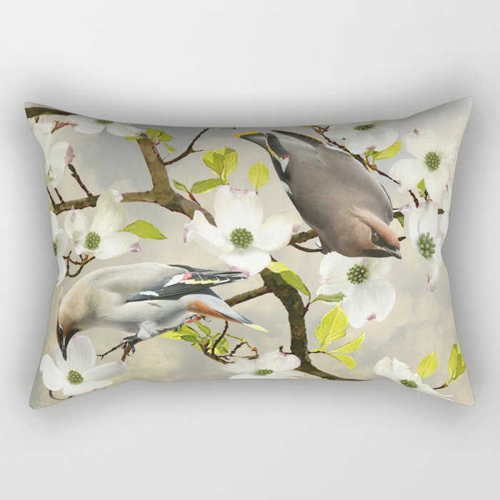 Bohemian Waxwing in Dogwood Tree Rectangular Pillow