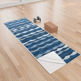 Classic Blue Wave Pattern Yoga Towel