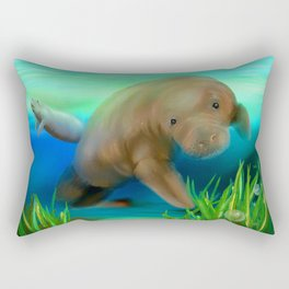 Manatee Illustration Rectangular Pillow