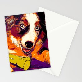 australian shepherd aussie dog puppy vector art late sunset Stationery Cards