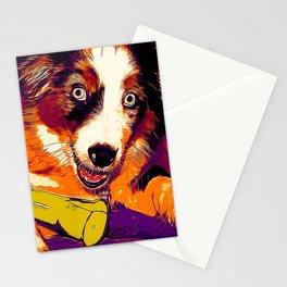 australian shepherd aussie dog puppy vector art late sunset Stationery Cards