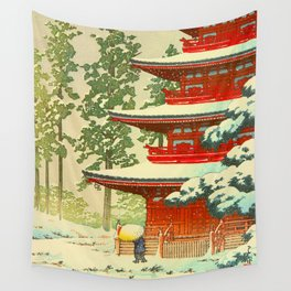 Vintage Japanese Woodblock Print Japanese Shinto Shrine Red Pagoda With Snow Capped Trees Wall Tapestry