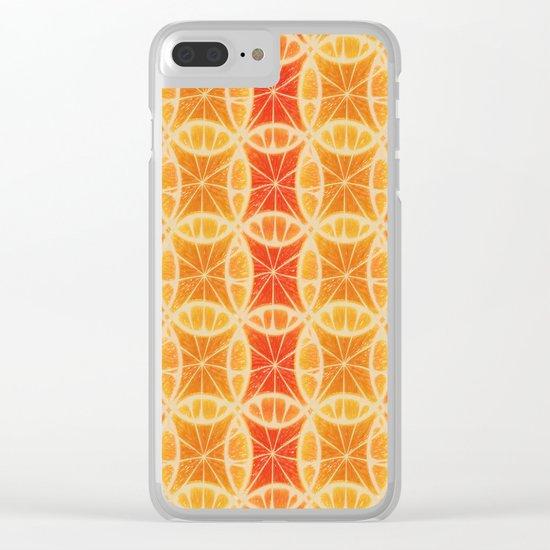 Orange Slice Pattern Clear iPhone Case