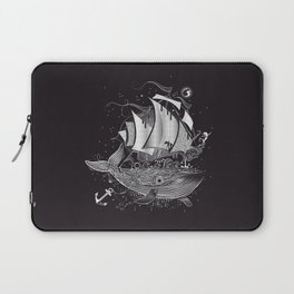 Great white whale and a sailing ship Laptop Sleeve