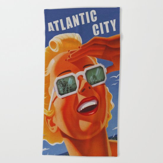 Vintage Atlantic City NJ Travel Beach Towel