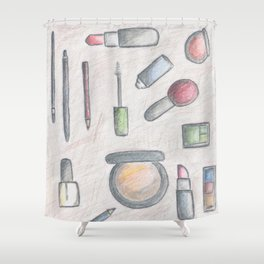 MAKE-UP - pencil and coloured pencil illustration Shower Curtain