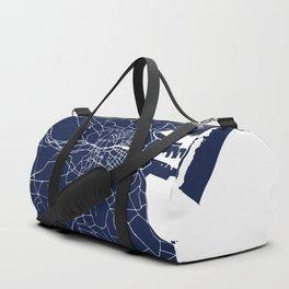 Dublin Street Map Navy Blue and White Duffle Bag