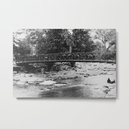 A lovely day for a walk by the river Metal Print