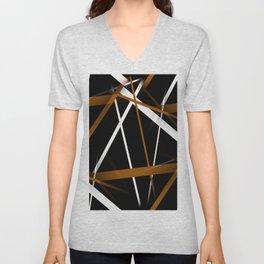 Seamless Sienna and White Stripes on A Black Background Unisex V-Neck