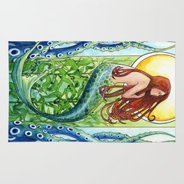Kelp Forest Mermaid Rug