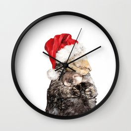 Christmas Otter Mother and Child Wall Clock