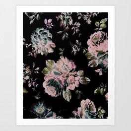 Dark Floral Pink Art Print