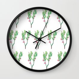 Blueberry Flowers Wall Clock