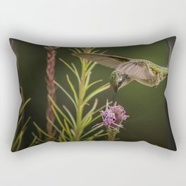 Hummingbird and deck flowers Rectangular Pillow