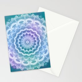 White Mandala on Teal, Purple and Navy Stationery Cards