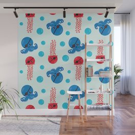 Pirate Octopus, Jellyfish With Pirate Eye Patch Wall Mural