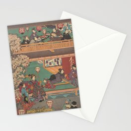 Japanes Print Early Evening in Yoshiwara Inn Stationery Cards