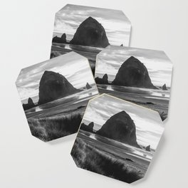 Cannon Beach Sunset - Black and White Nature Photography Coaster