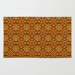 Intricate Gold Wire Weave Pattern Rug