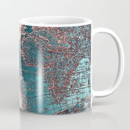 Antique World Map Pink Quartz Teal Blue by Nature Magick Coffee Mug