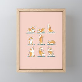 Corgi Yoga Watercolor Framed Mini Art Print