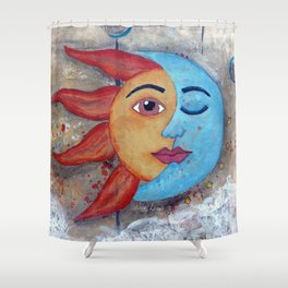 Soluna, Sun and Moon Mixed media Painting Shower Curtain