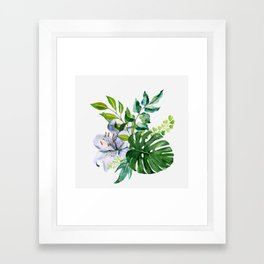 Flower and Leaves Framed Art Print