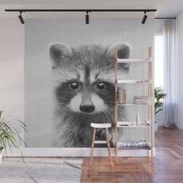 Raccoon - Black & White Wall Mural