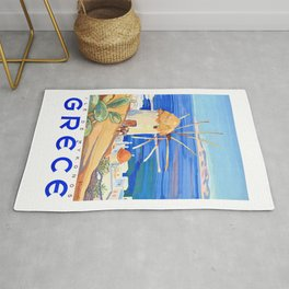 1949 Greece Island of Mykonos Travel Poster Rug