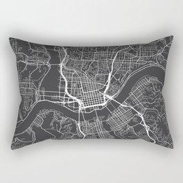 Cincinnati Map, USA - Gray Rectangular Pillow