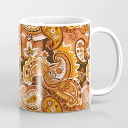 Bohemian Paisley, 70s Brown Orange Coffee Mug