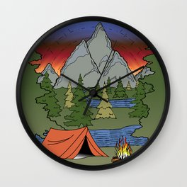 Camp Illustration Wall Clock