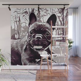 french bulldog basketball vector art black white Wall Mural
