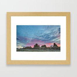 Pastel Rainbow Sunset : Tronna Pinnacles Framed Art Print