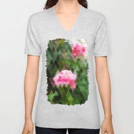 Pink Roses in Anzures 5 Art Triangles 2 Unisex V-Neck