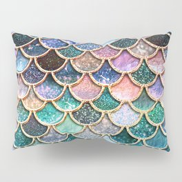 Multicolor Pink And Aqua Mermaid Scales - Beautiful Abstract Glitter Pattern Pillow Sham