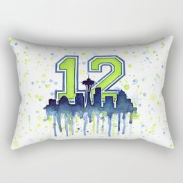 Seattle 12th Man Art Skyline Watercolor Rectangular Pillow