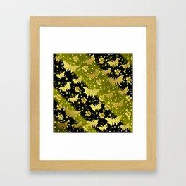 golden butterflies, small asian flowers on black background Framed Art Print