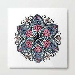 Mandala pink and blue Metal Print