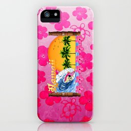 Pink Hibiscus Hawaiian Surfing iPhone Case