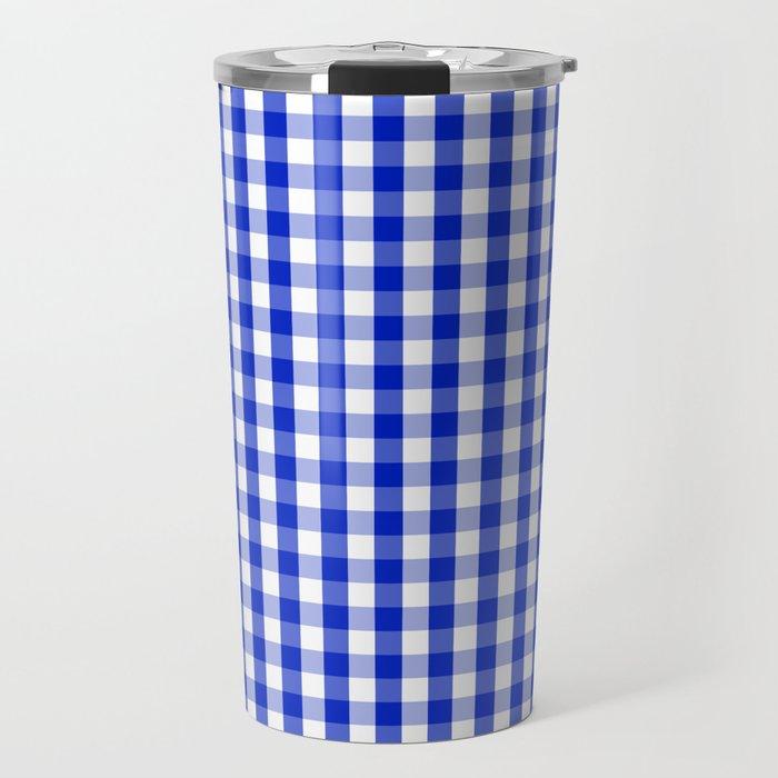 Cobalt Blue and White Gingham Check Plaid Squared Pattern Travel Mug