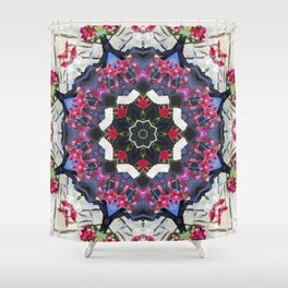 Orchids And Stone Wall Kaleidoscope 1763 Shower Curtain