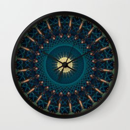 Mandala in blue and golden tones Wall Clock